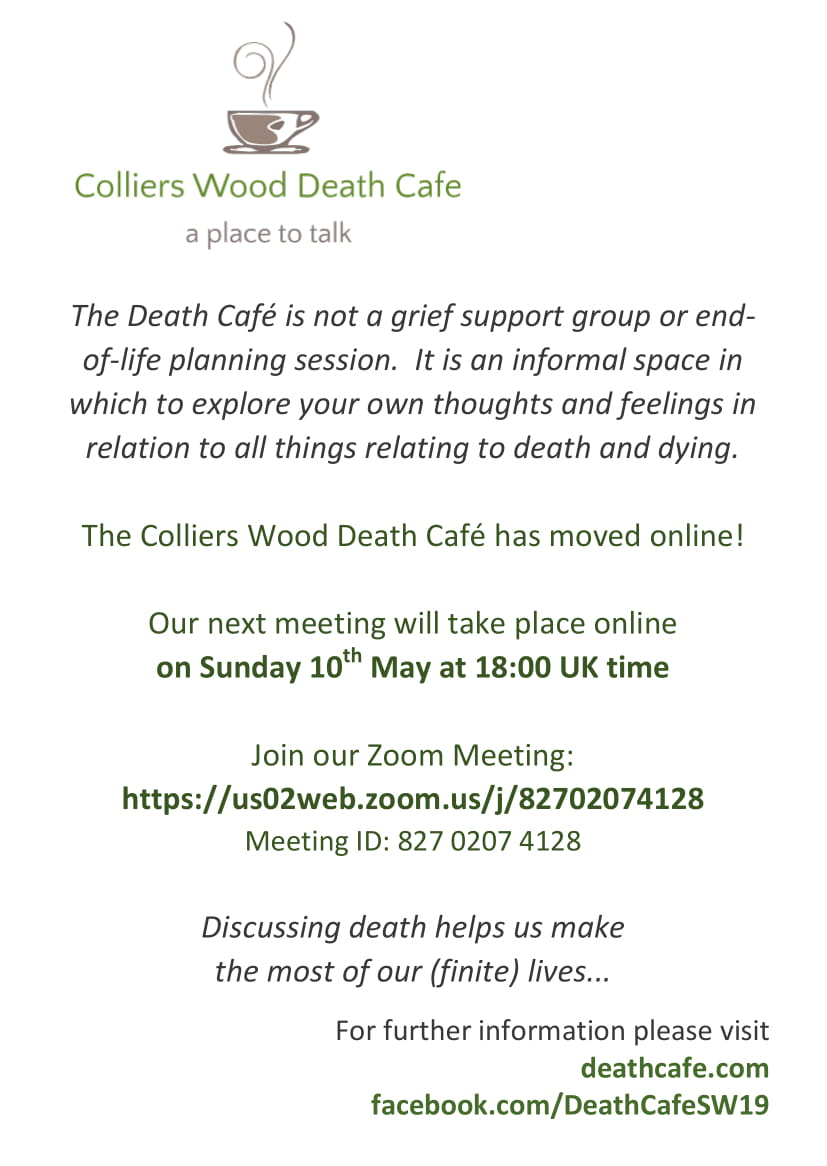 Colliers Wood Death Cafe - ONLINE