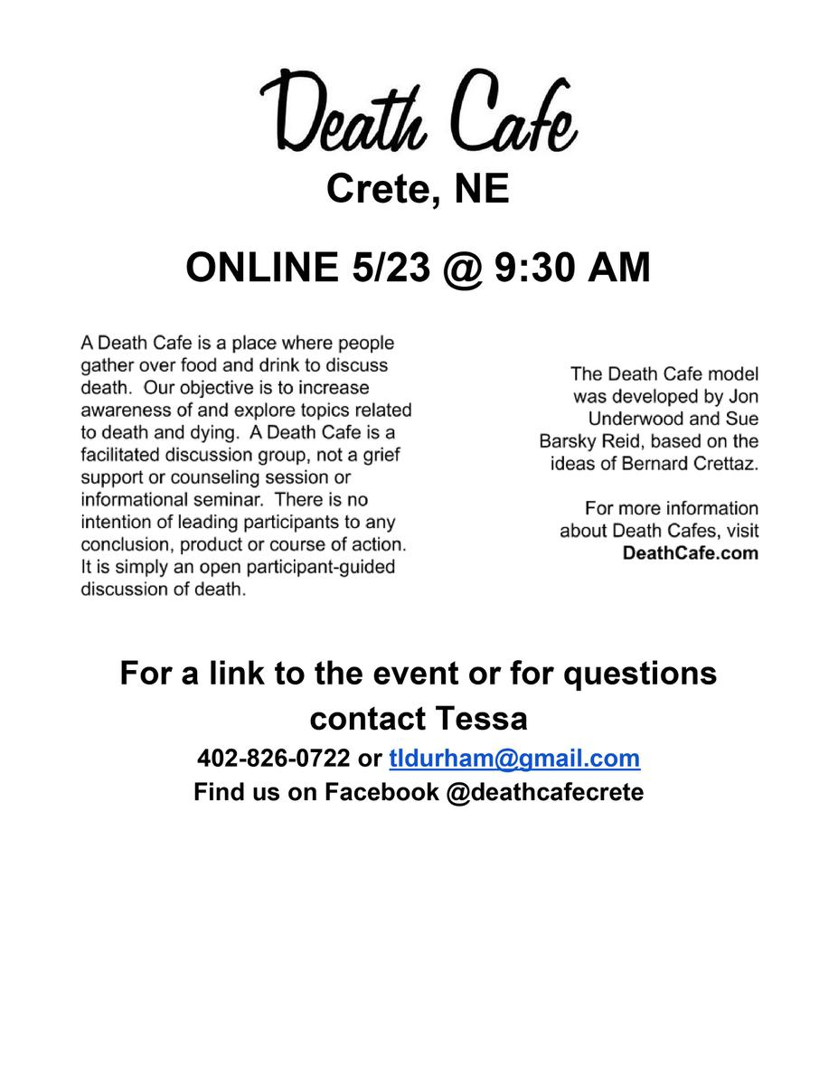 Death Cafe Crete USA Online. Central Time
