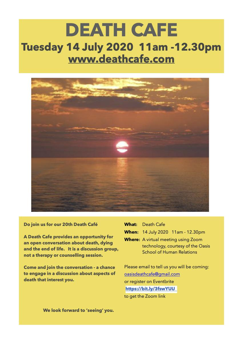 Online Death Cafe EST from Oasis in Boston Spa, Yorkshire