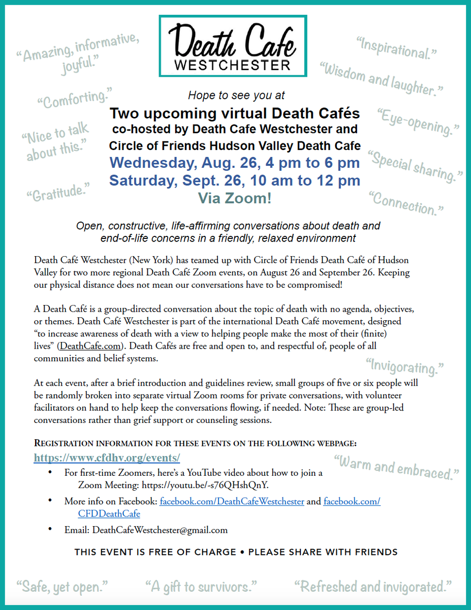 Online Death Cafe - Hudson Valley, NY EST