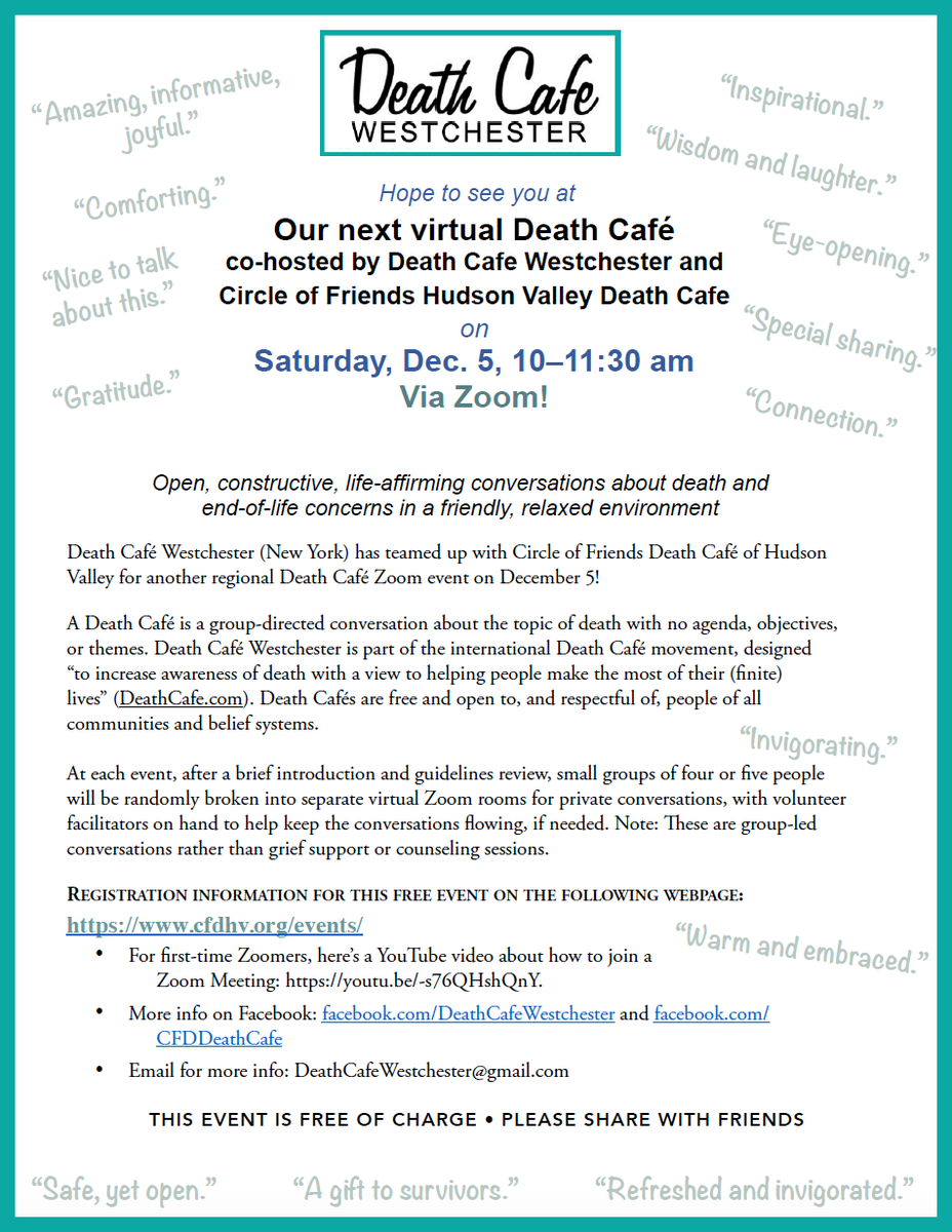 Online EST Death Cafe in Lower Hudson Valley NY via Zoom