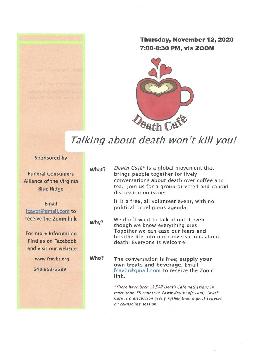 Online Death Cafe via Zoom EST