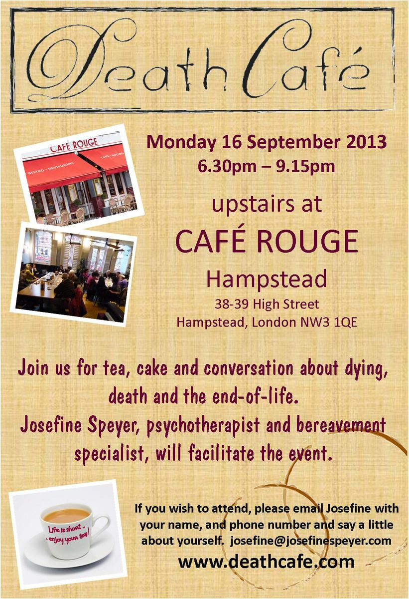Death Cafe at Cafe Rouge in Hampstead, London