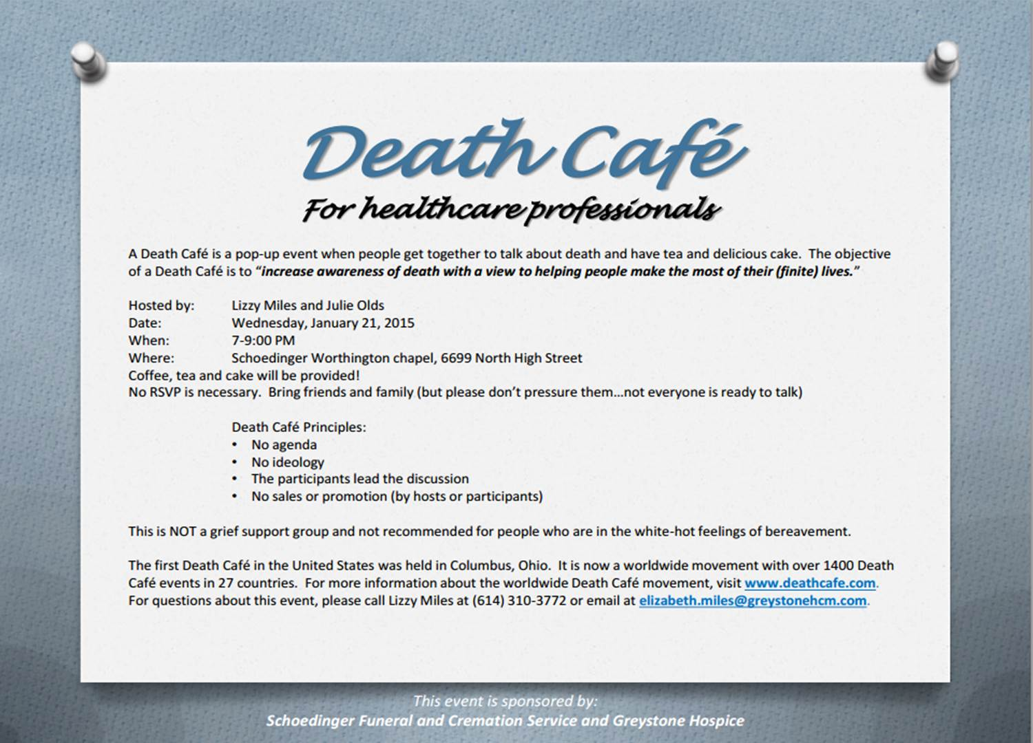 Death Cafe in Worthington, OH for Healthcare Professionals