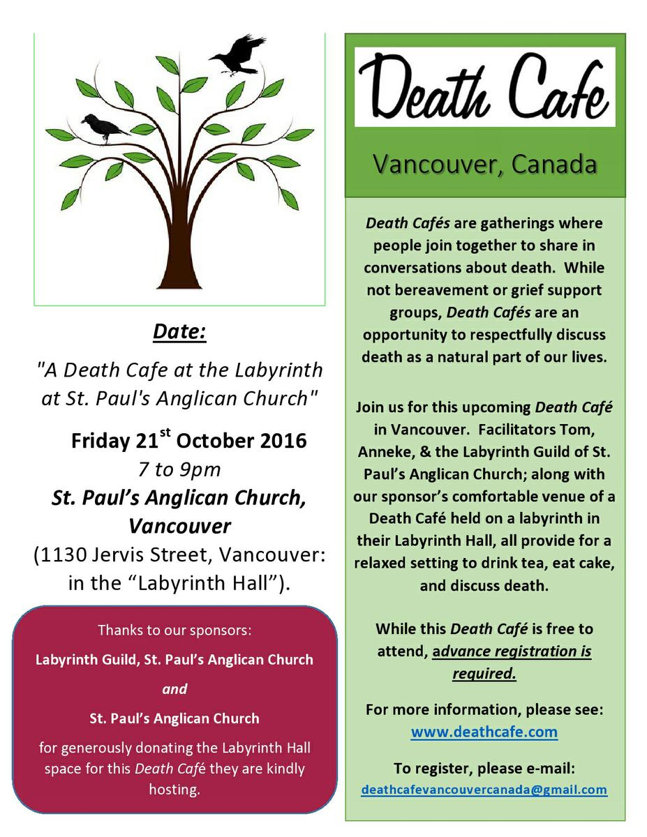 'A Death Cafe at the Labyrinth at St. Paul's Anglican Church' in Vancouver, Canada