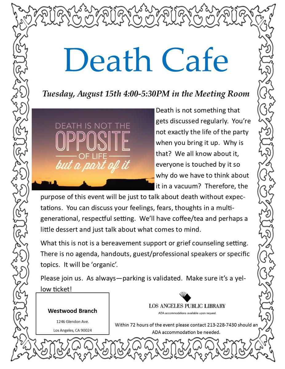 Death Cafe Westwood Branch Library