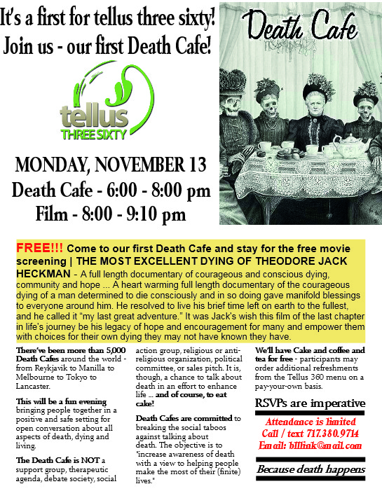 The first Death Cafe at tellus three sixty in downtown Lancaster