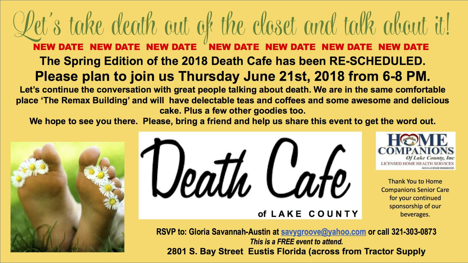 Death Cafe of Lake County Spring Edition 2018