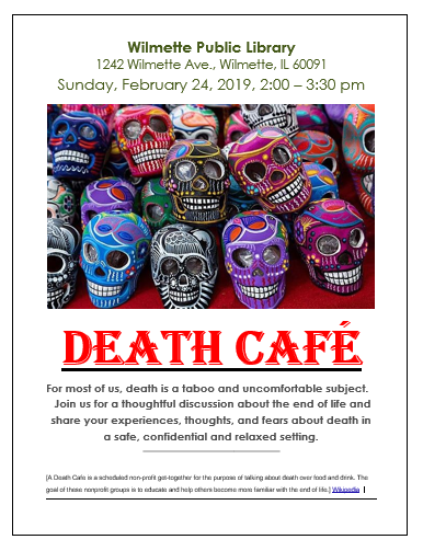 Death Cafe Wilmette Public Library
