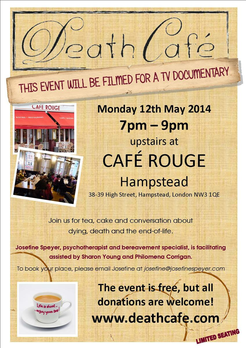 Filmed Death Cafe at Cafe Rouge, Hampstead, London, UK