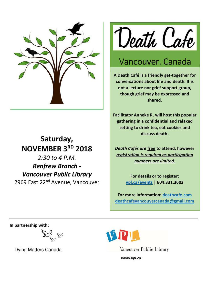 A Death Cafe  - Vancouver Canada - Renfrew Branch VPL