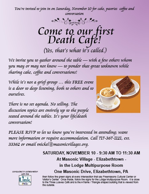 Death Cafe | the first at Masonic Village  - Elizabethtown