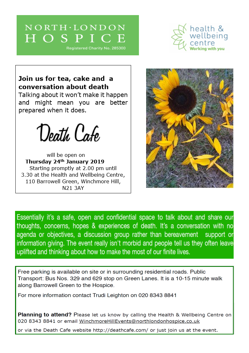 Death Cafe North London Hospice