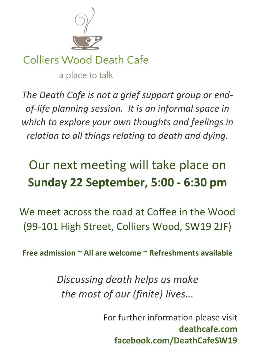 Colliers Wood Death Cafe - Sept 2019