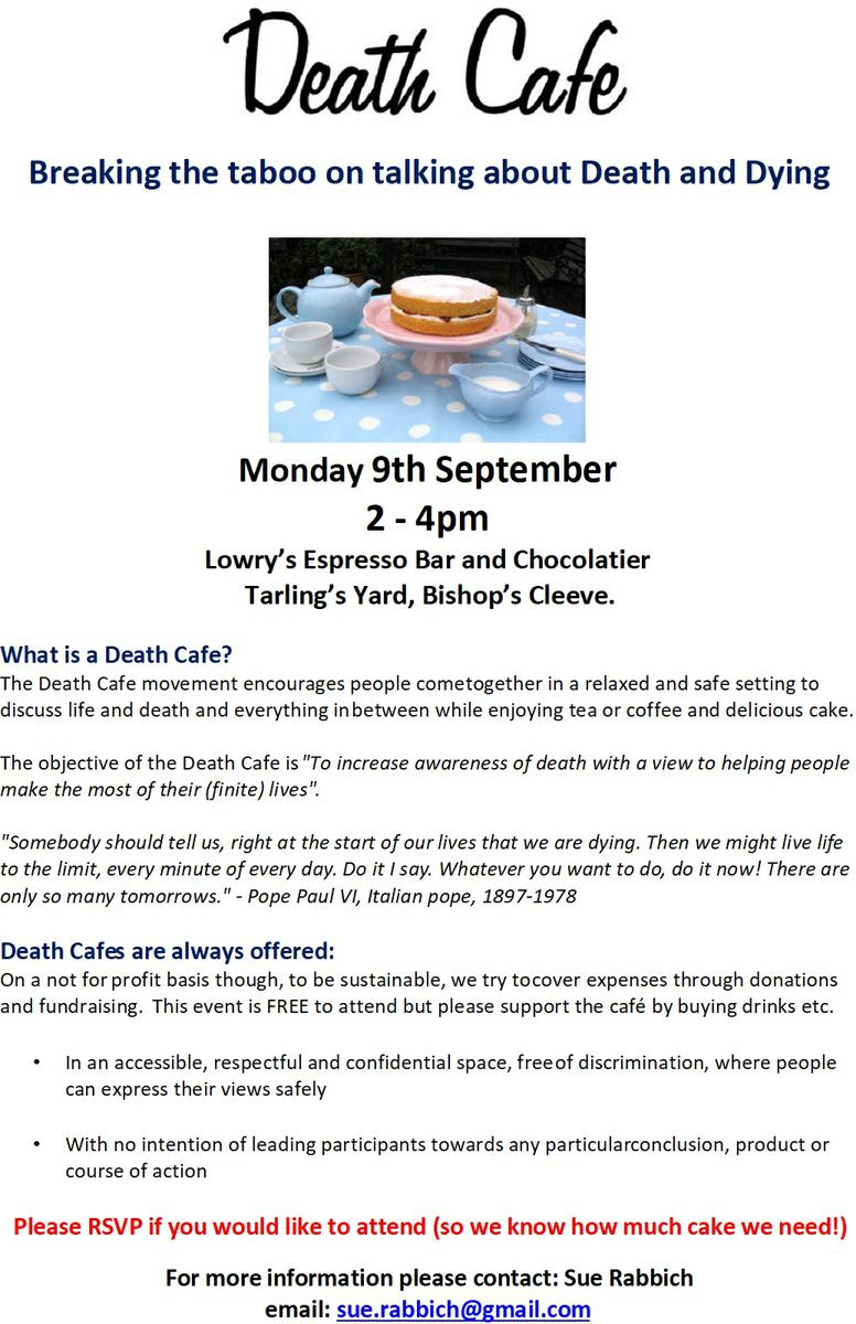 Bishop's Cleeve Death Cafe - Breaking the Taboo of talking about Death and Dying